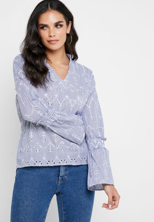 Shirred Layered Sleeve Printed Top
