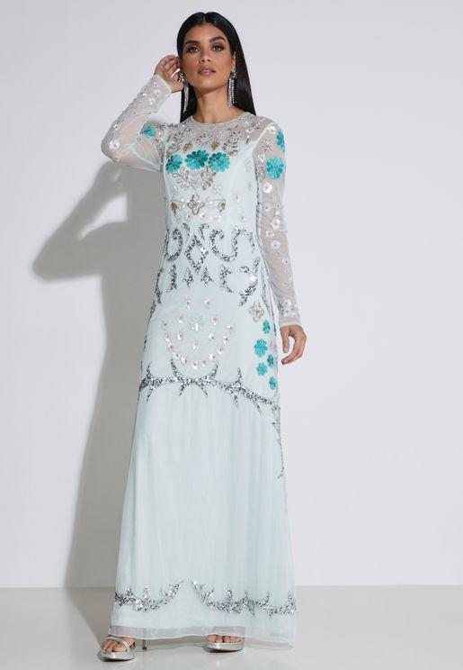 Embellished Sheer Dress