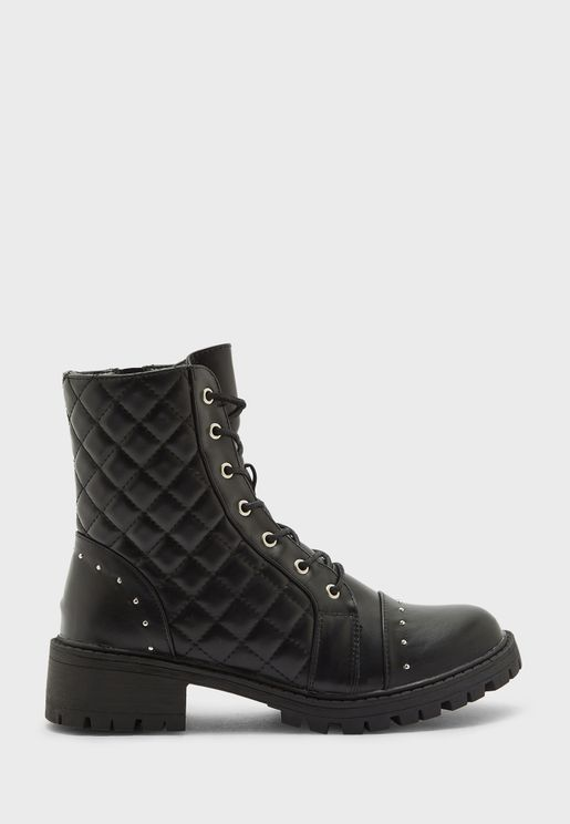 Quilted Military Boot