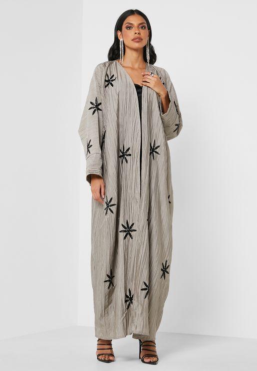 Wide Sleeves Pleated Abaya