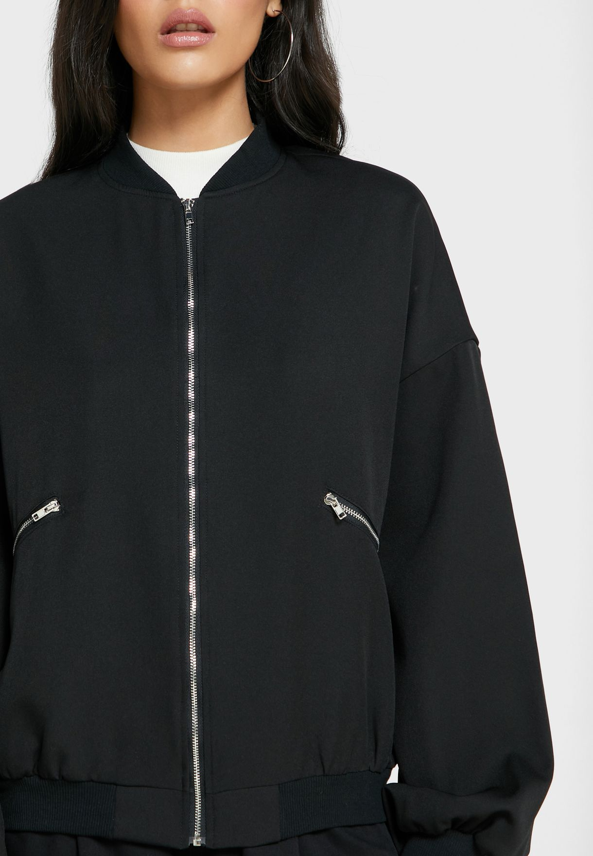 Zip Detail Pocket Bomber Jacket