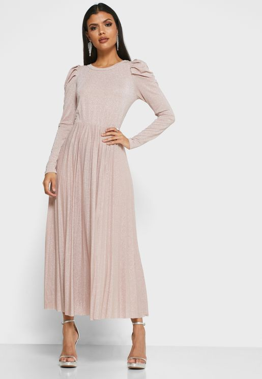 Metallic Pleated Skirt Maxi Dress