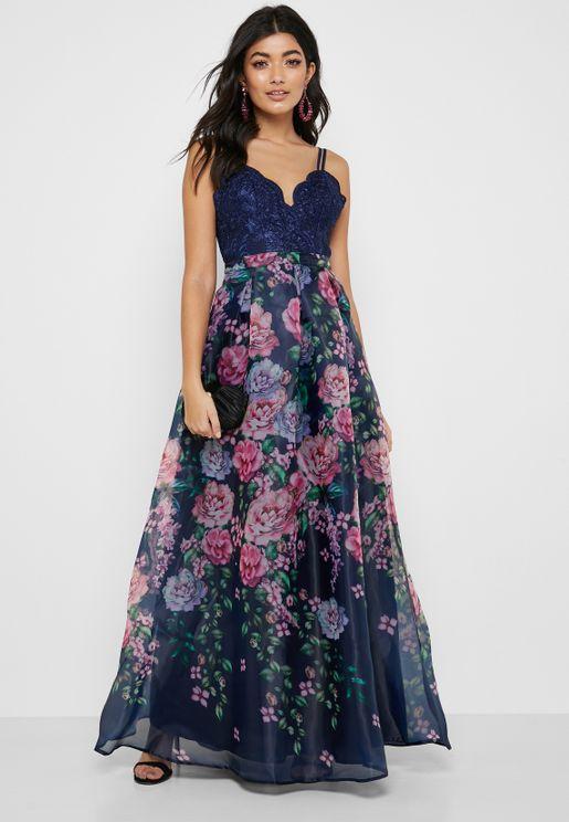 Lace Scallop Top Floral Print Skirt Dress