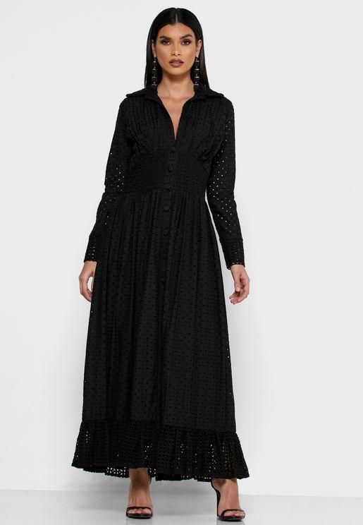 Collared Schiffli Dress