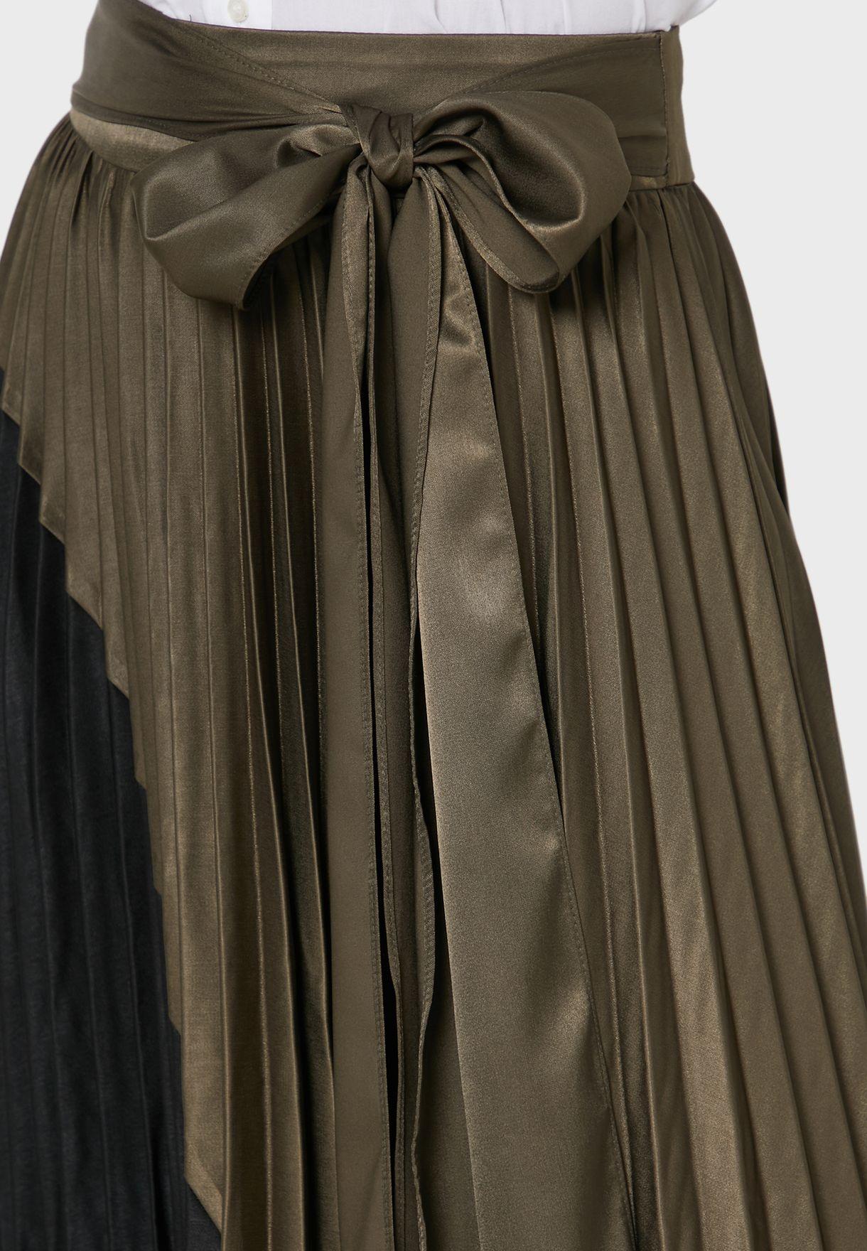 Half & Half Pleated Tie Waist Midi Skirt