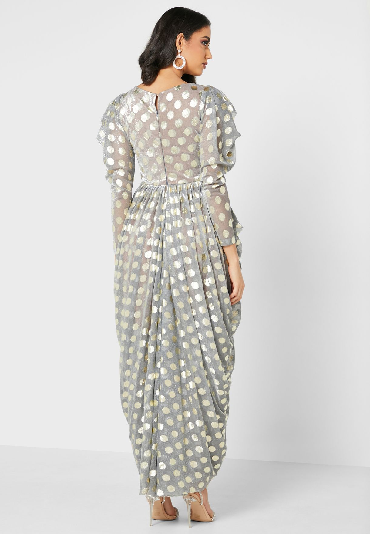 Puff Sleeves Shimmer Dotted Dress