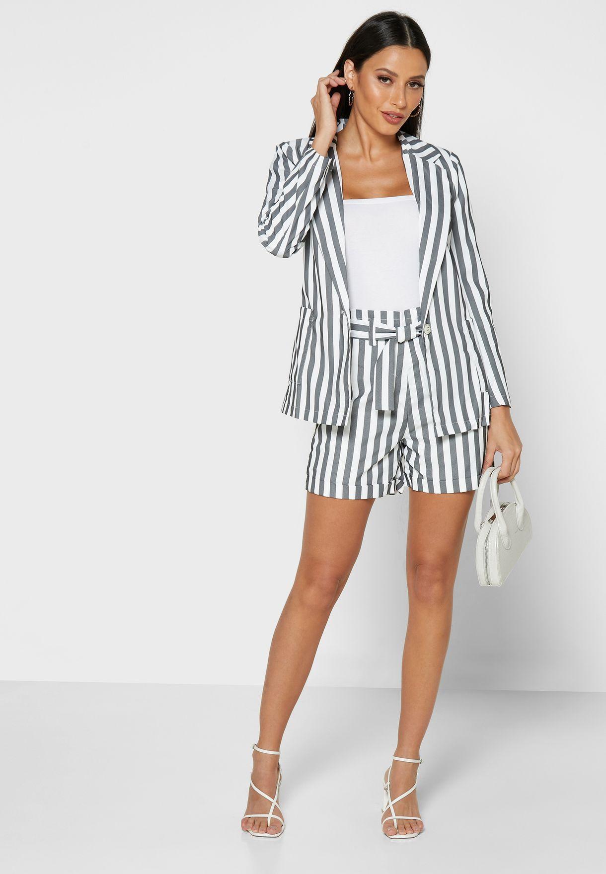Striped Pocket Blazer Shorts Set
