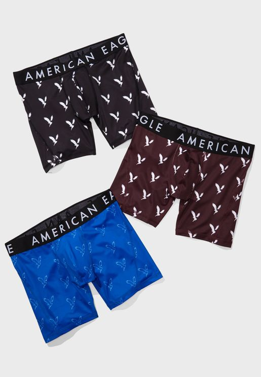 3 Pack Logo Print Trunks