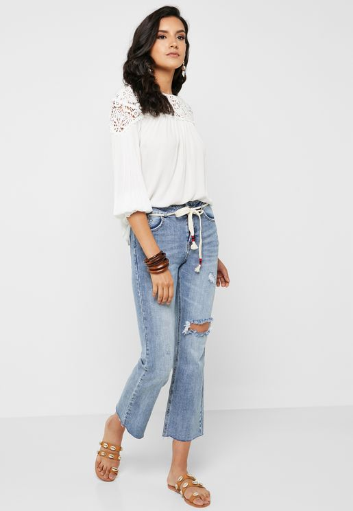 Ripped Straight Tie Waist Jeans