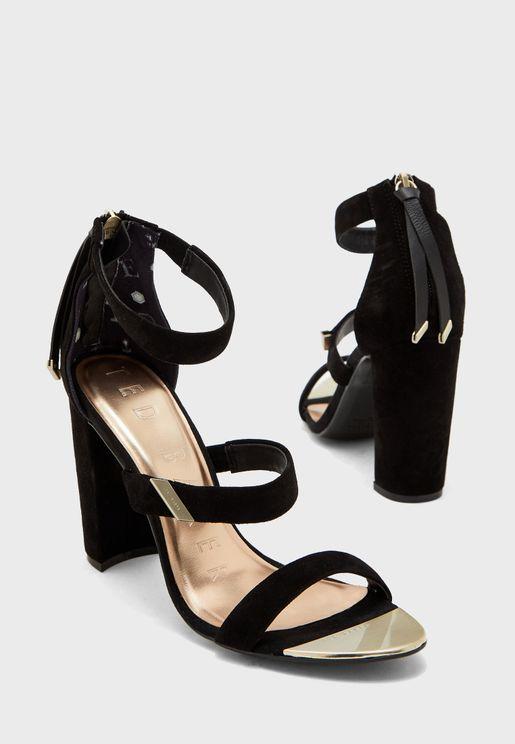 Alinra Triple Strap High Heel Sandal - Black