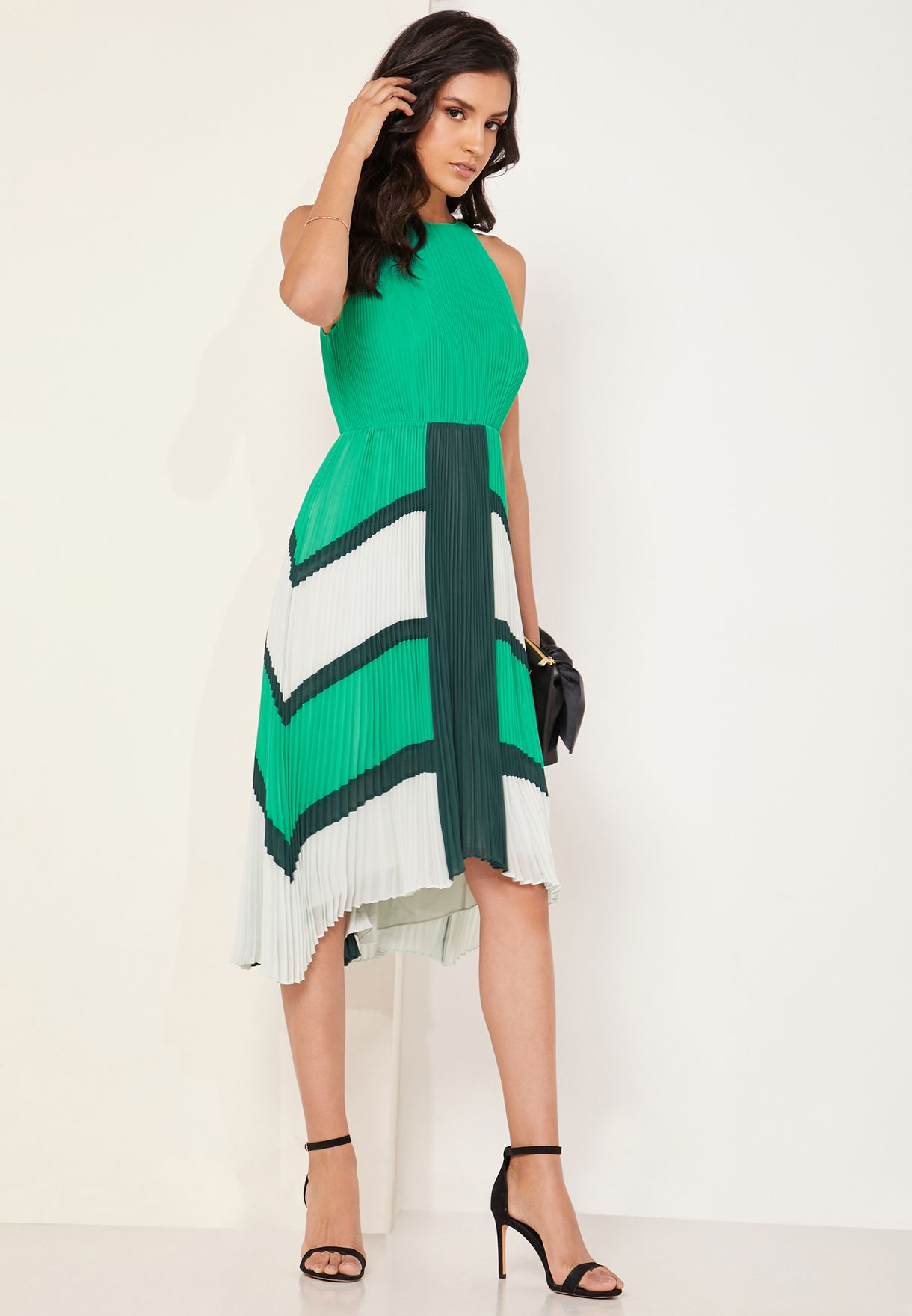 ad95456a7b922 Shop Ted baker green Nellina Dip Hem Pleated Dress 155526 for Women ...