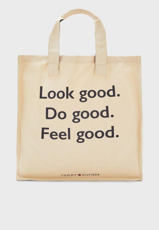 Slogan Printed Shopper