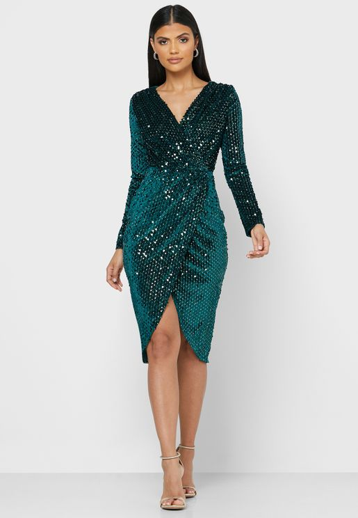 Sequin Wrap Front Midi Dress