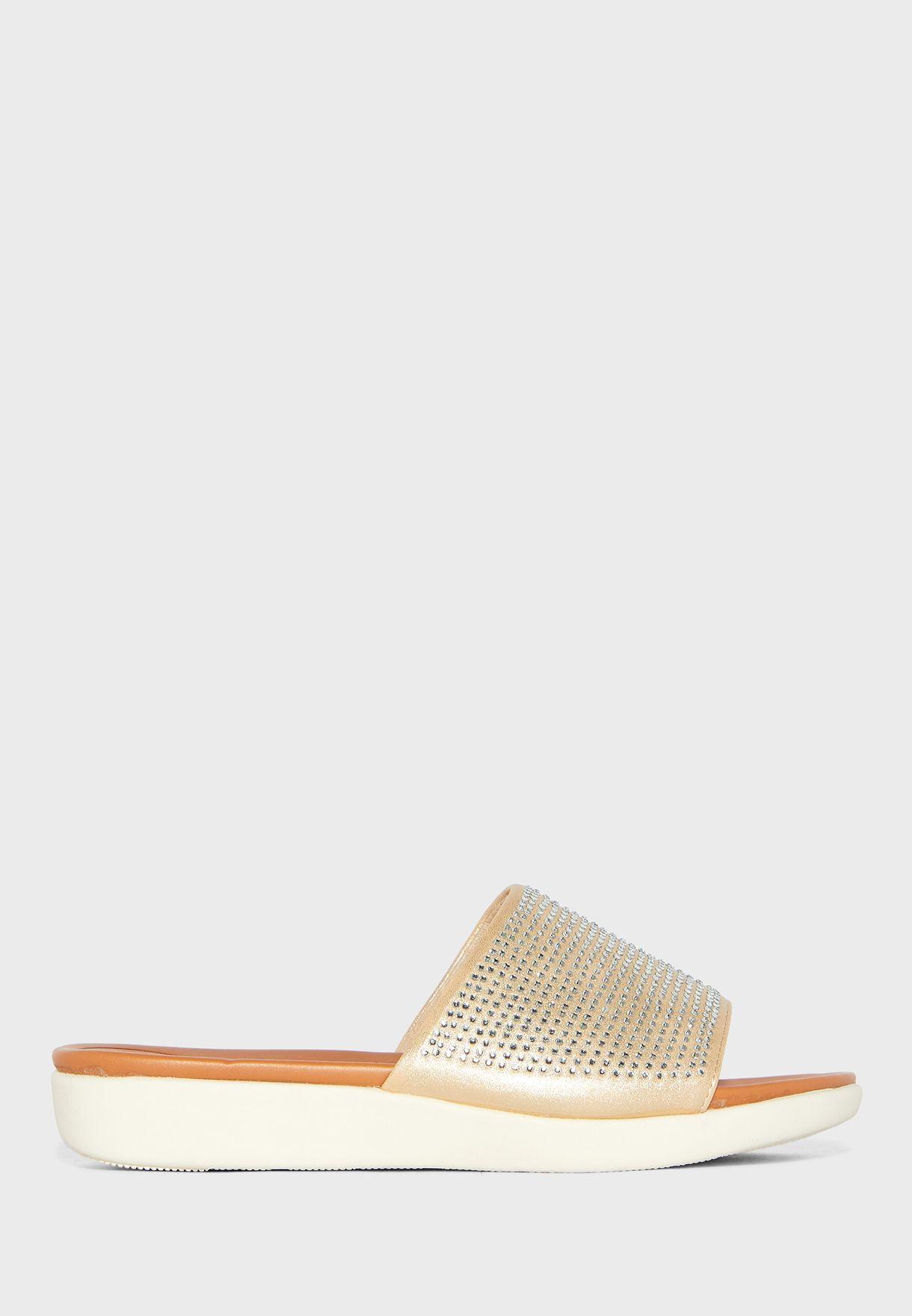 Wide Strap Wedge Sandal