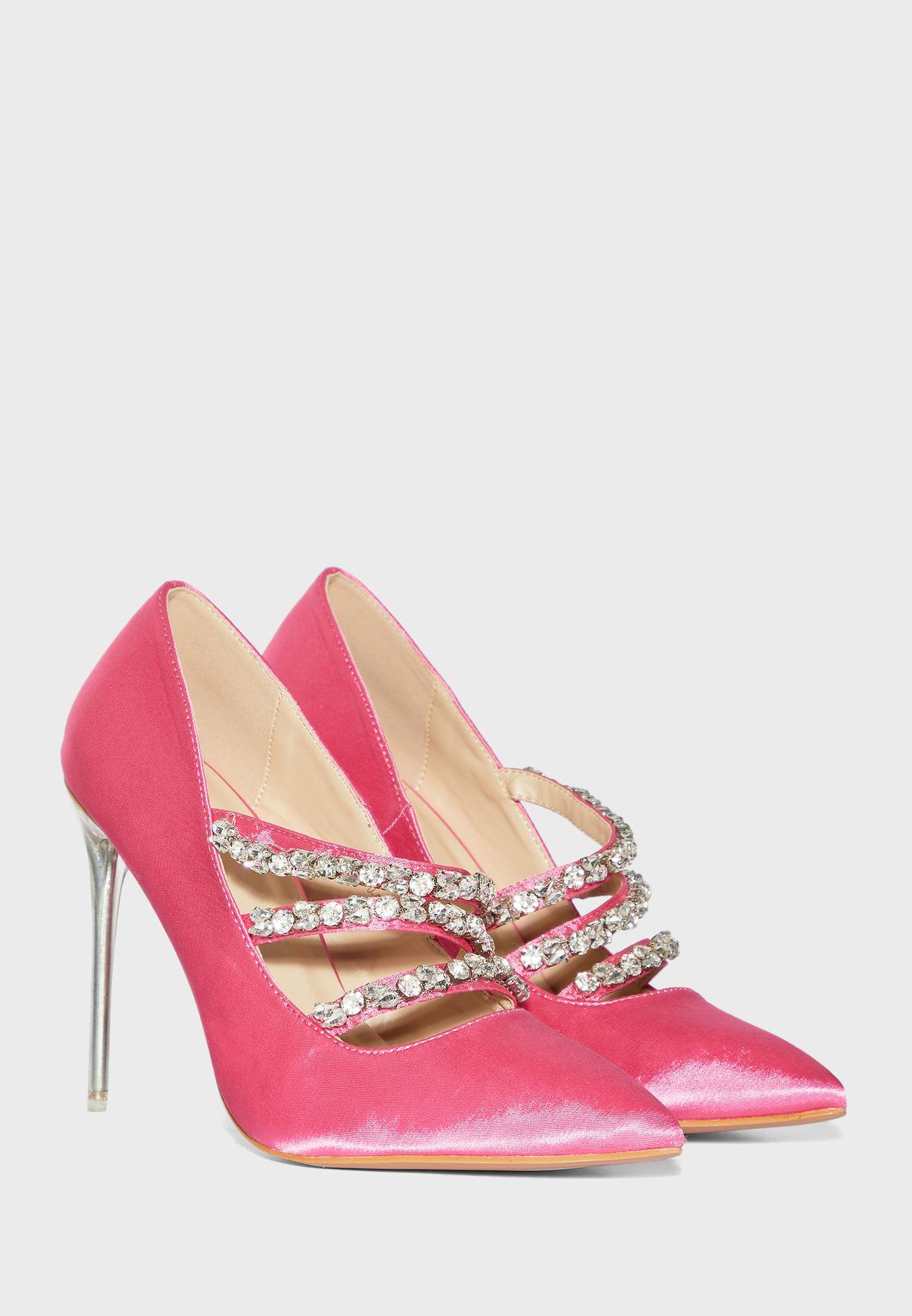 حذاء مرصع ذو كعب عالي
