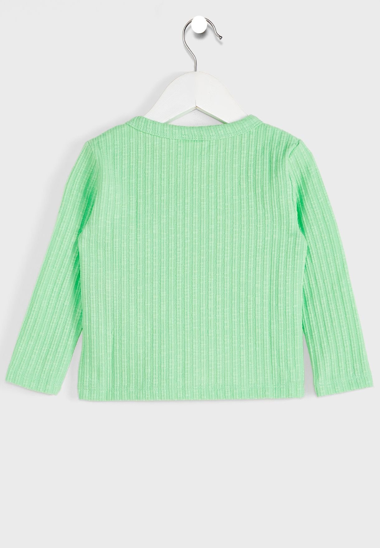 Kids Ribbed Button Top