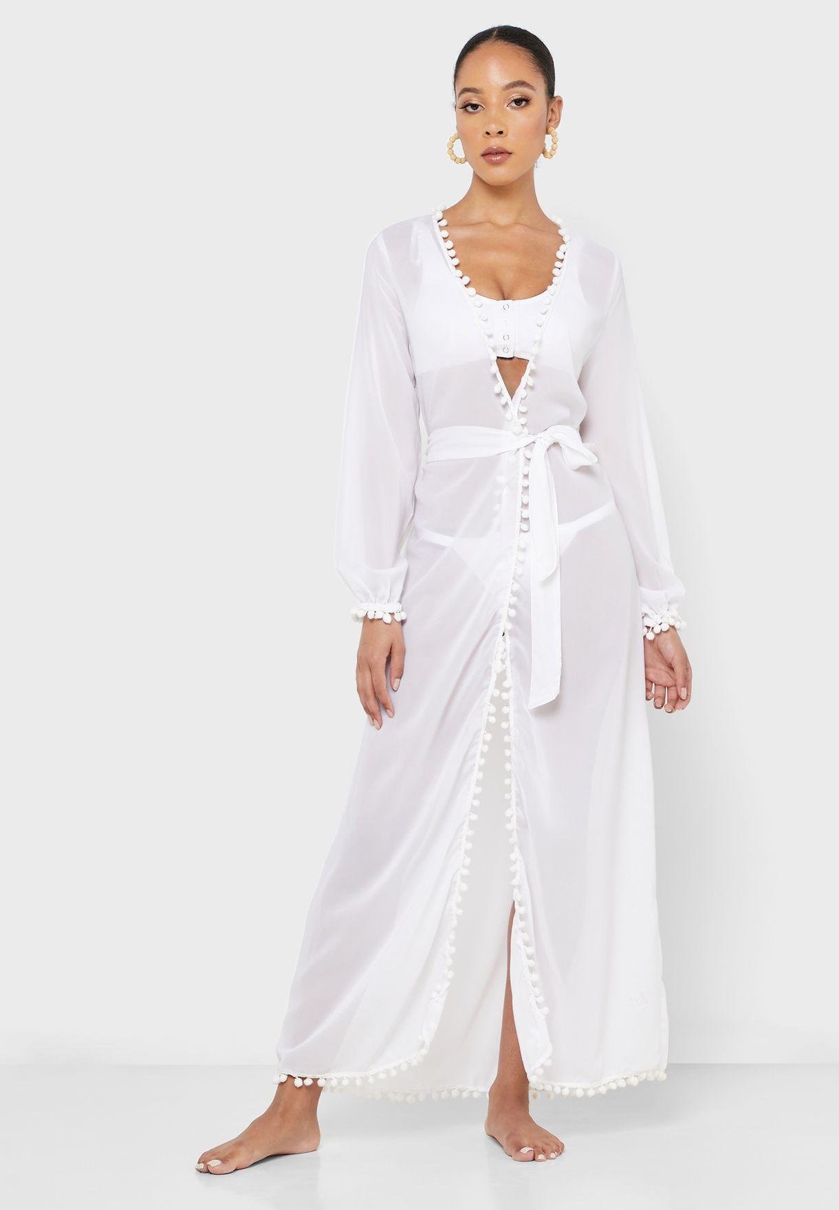 Pom Pom Trim Belted Dress