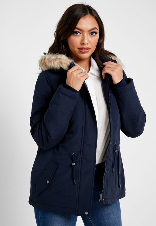 Faux And Fur Detail Longline Jacket