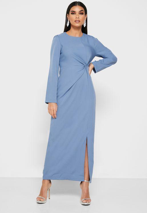 Twisted Front Midi Dress