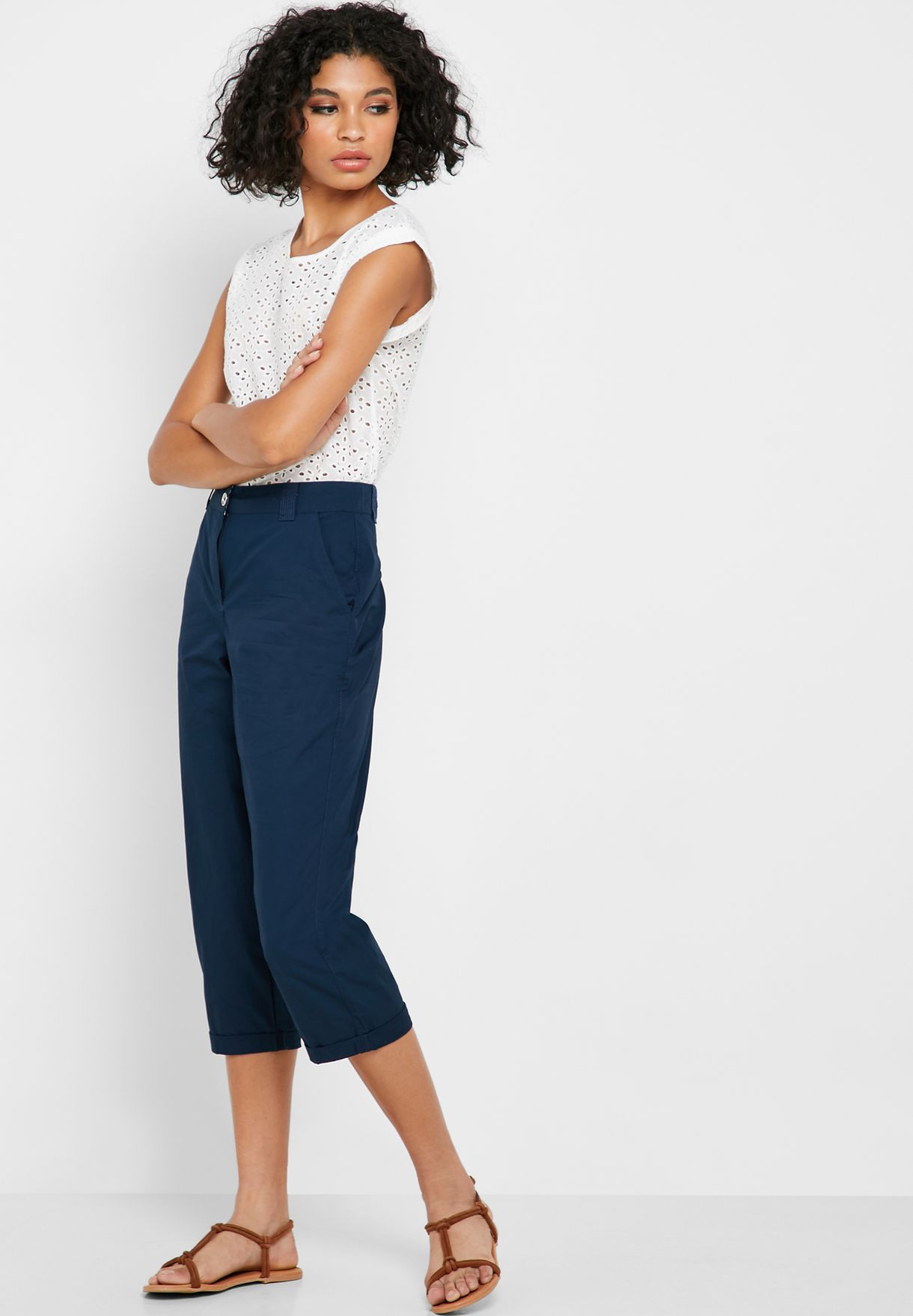 Roll Hem Cropped Pants