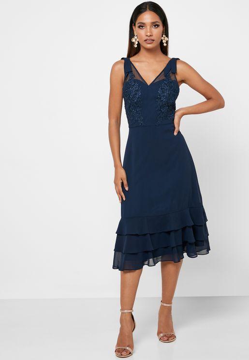 Shimmer Tiered Hem Dress