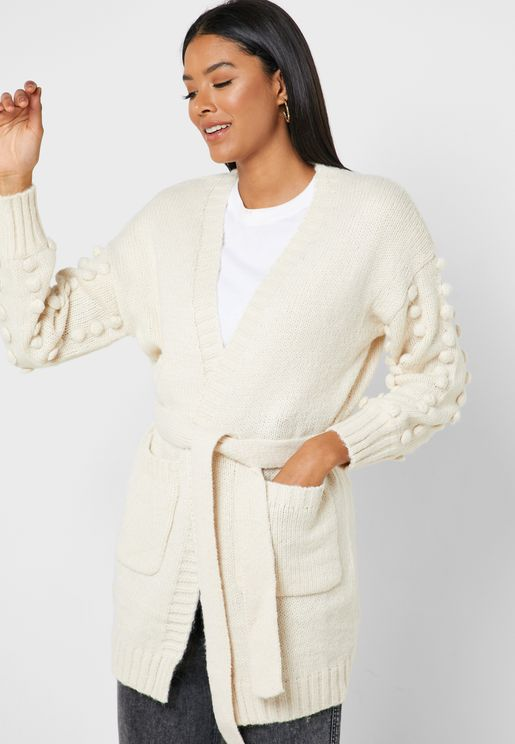 Pom Pom Self Tie Pocket Cardigan