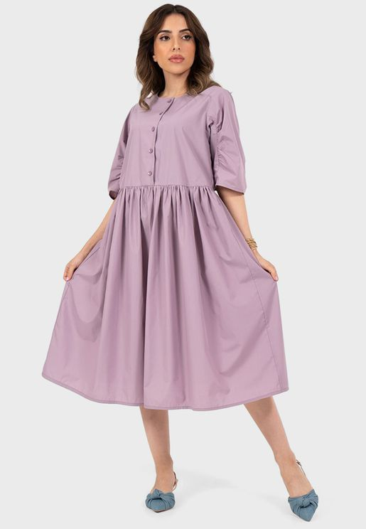 Pleated Button Detail Dress