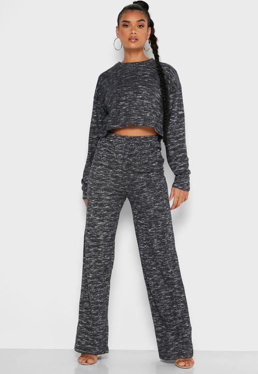 Batwing Sleeve Crop Top & Pant Set