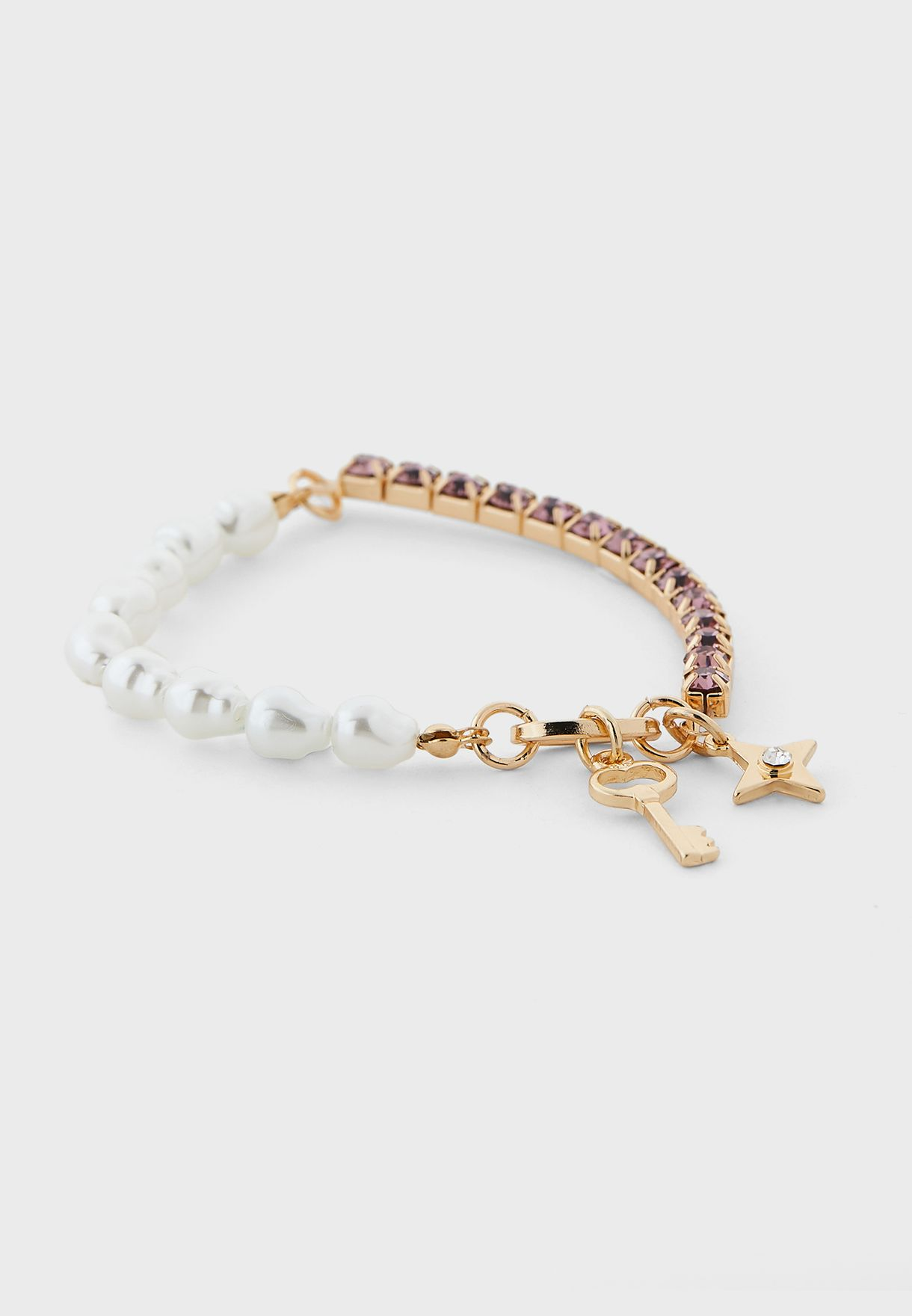 Pack Of 3 Pearl And Diamante Bracelets
