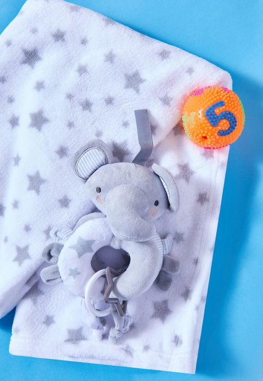 Blanket And Rattle Set - Elephant