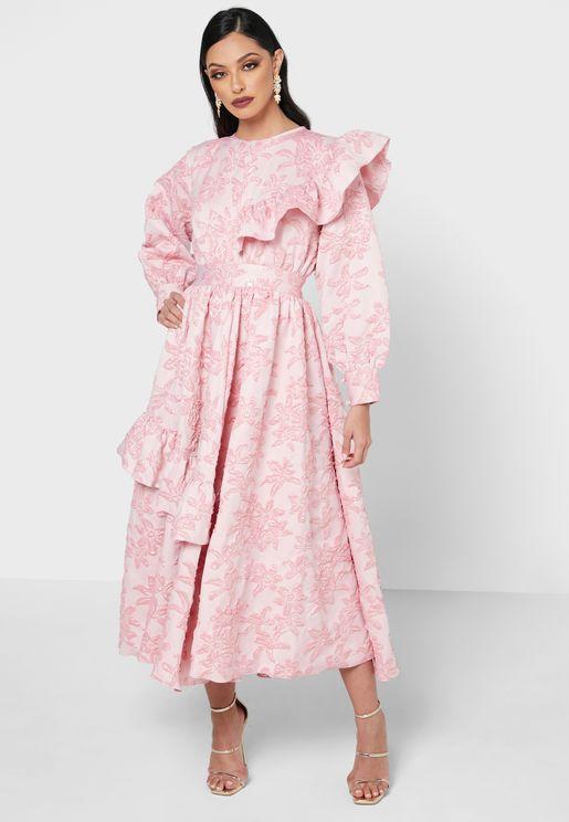 Ruffle Detail Jacquard Dress
