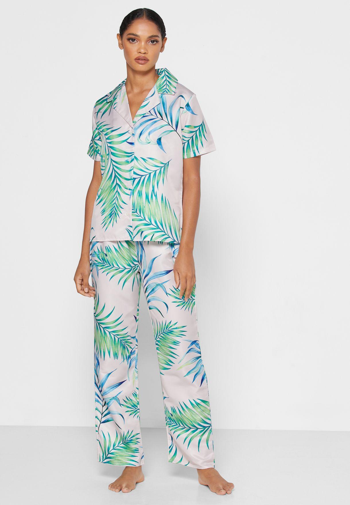 Printed Shirt Pyjama Set