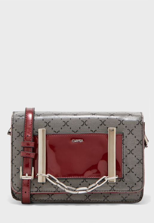 Sequin Link Chain Belted Crossbody