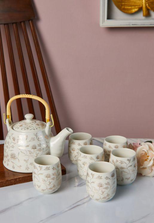 7 Piece Floral Tea Set