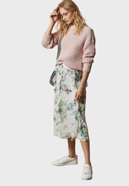 Lurissa Peplum Printed Midi Skirt