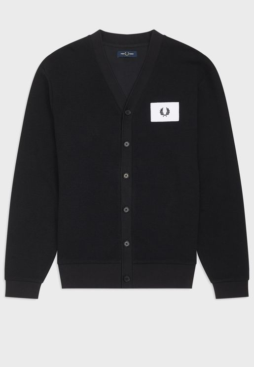 Logo Patch Button Cardigan