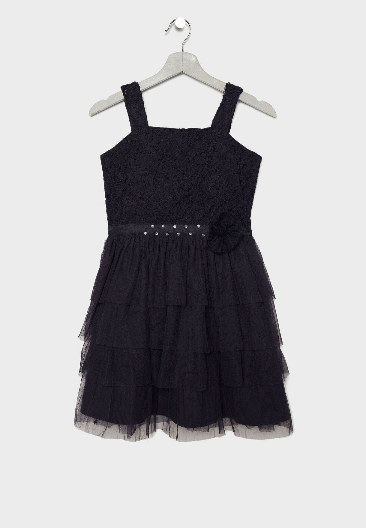 فستان بتنورة تل متعددة الطبقات