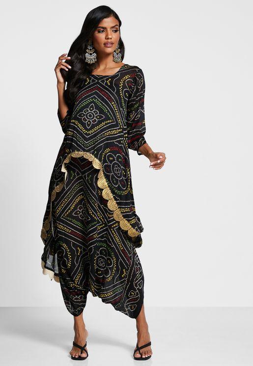 Asymmetric Top & Skirt Set