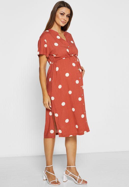 فستان بطبعات نقاط