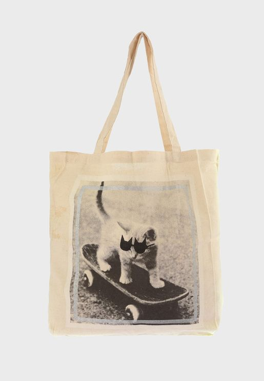 Cat Print Detailed Shopper