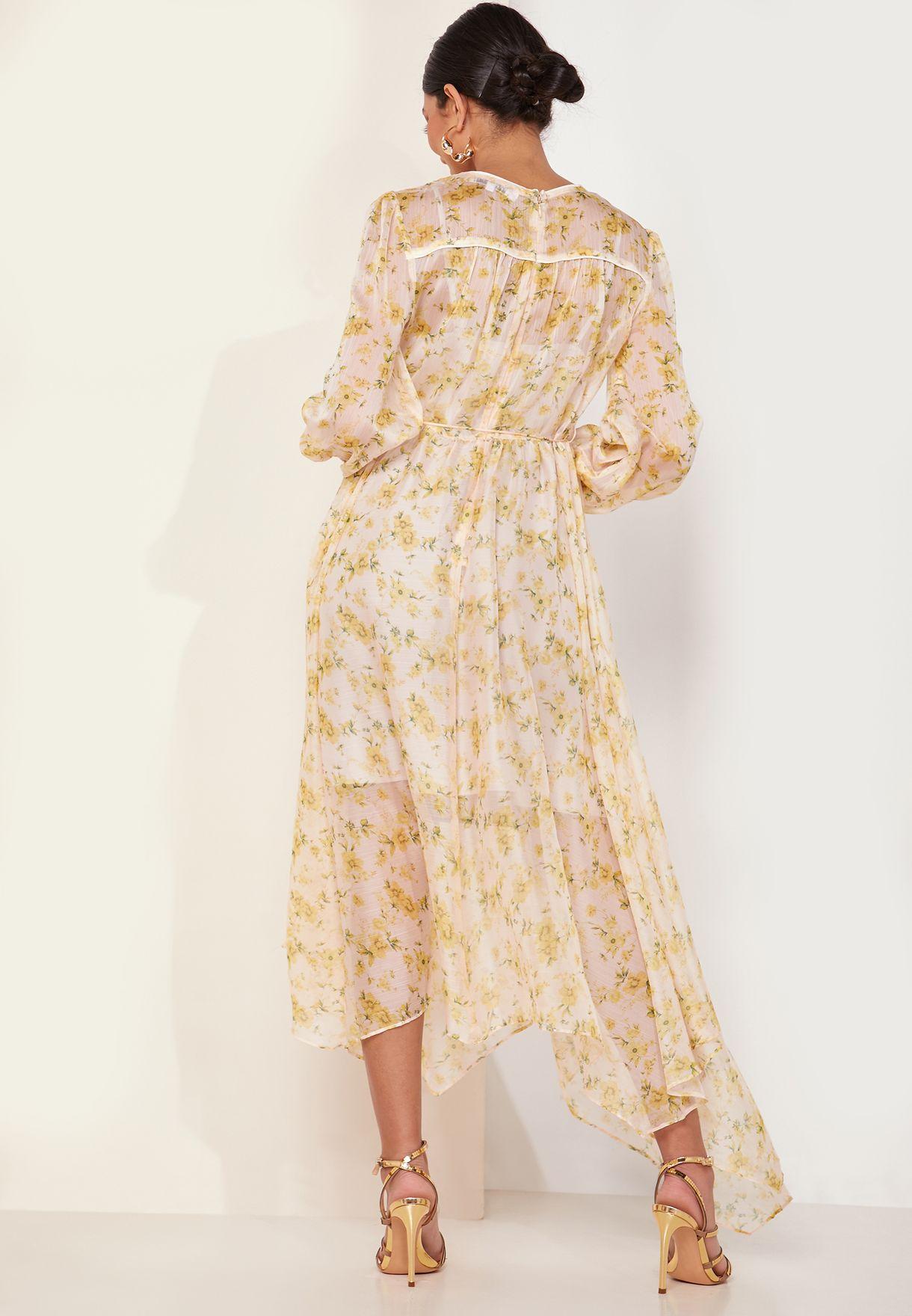 Gardenia Floral Print Asymmetric Dress