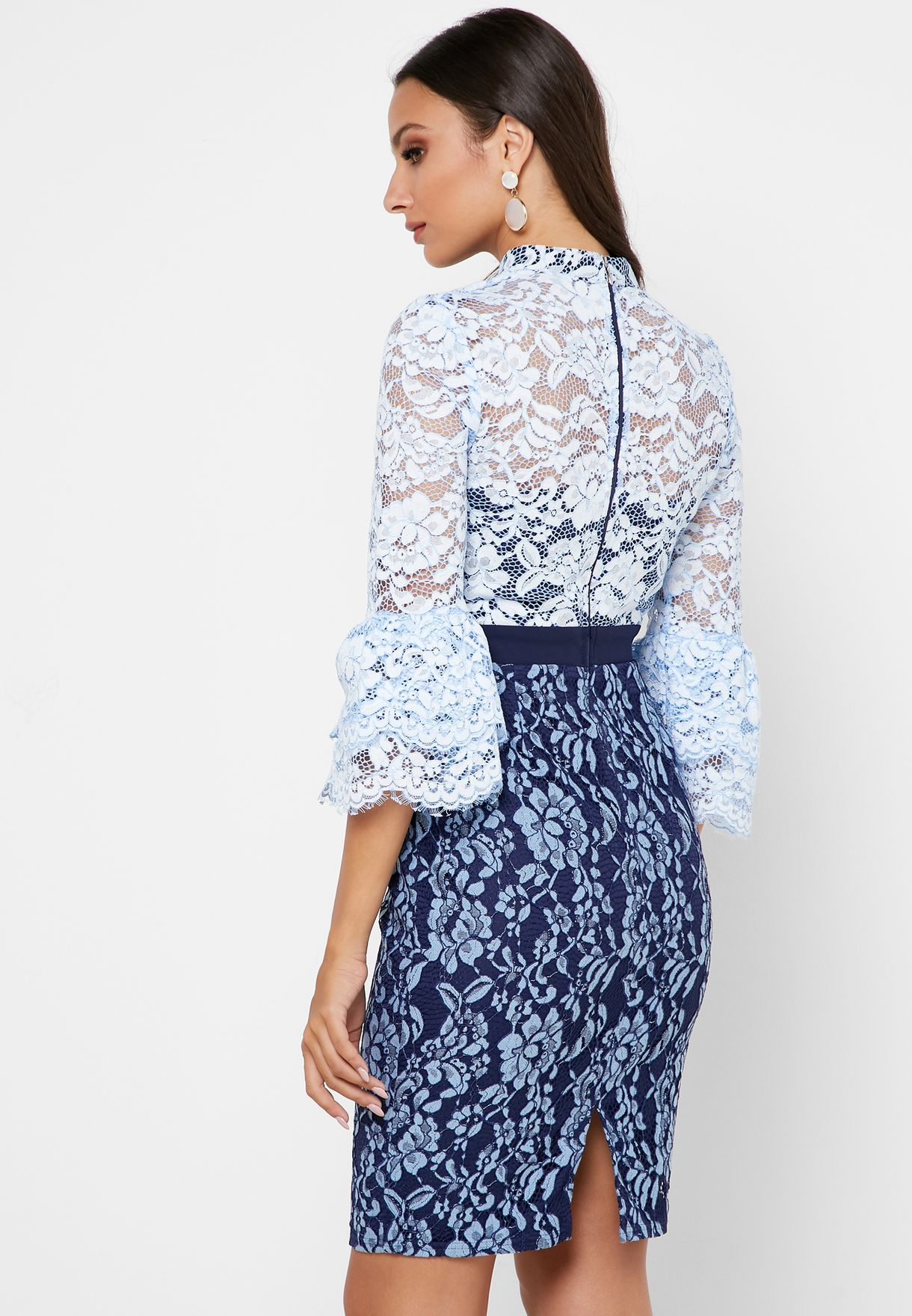 Lace Flute Sleeve Printed Dress
