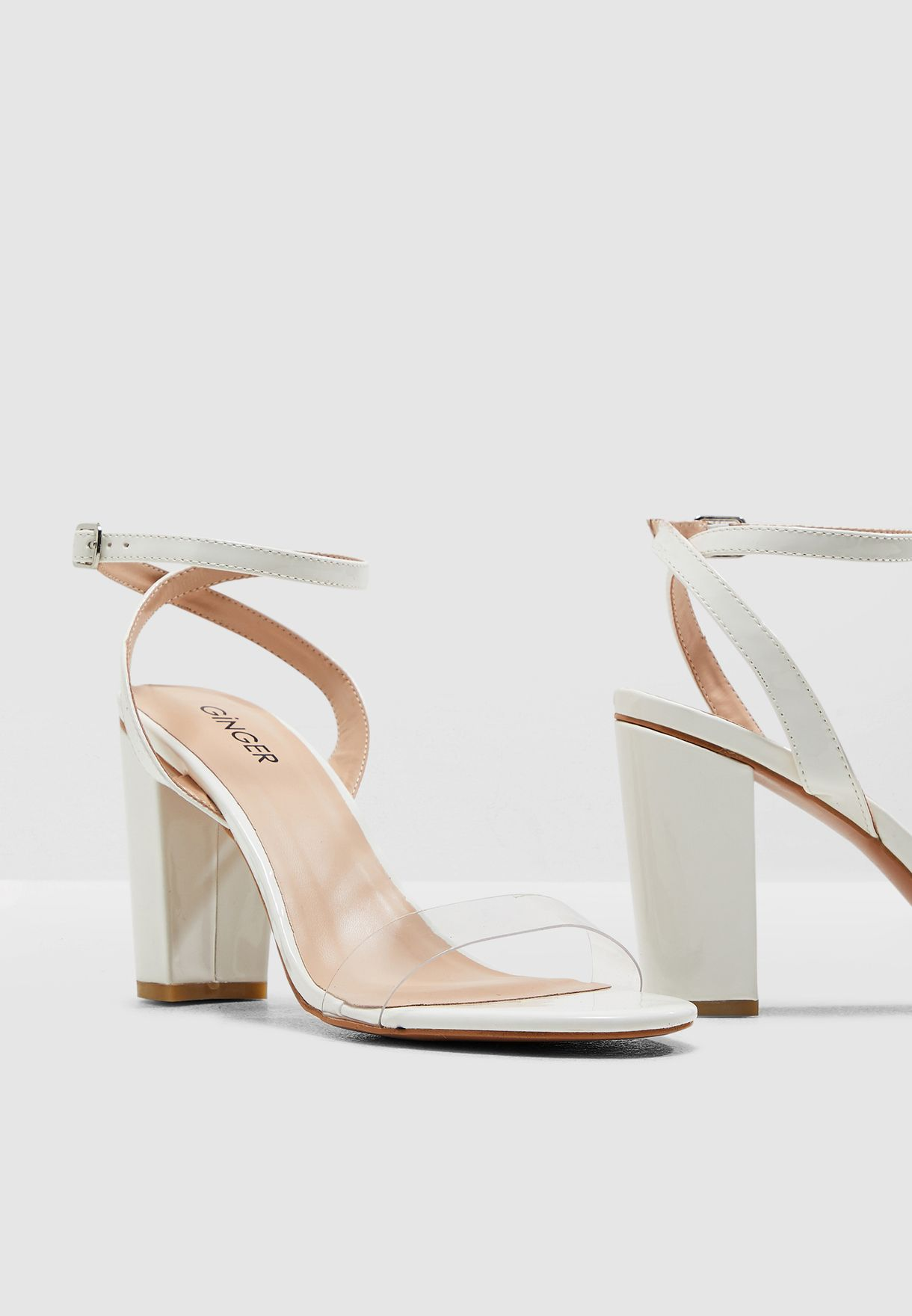 Block Heel Barely There Sandal With Clear Strap