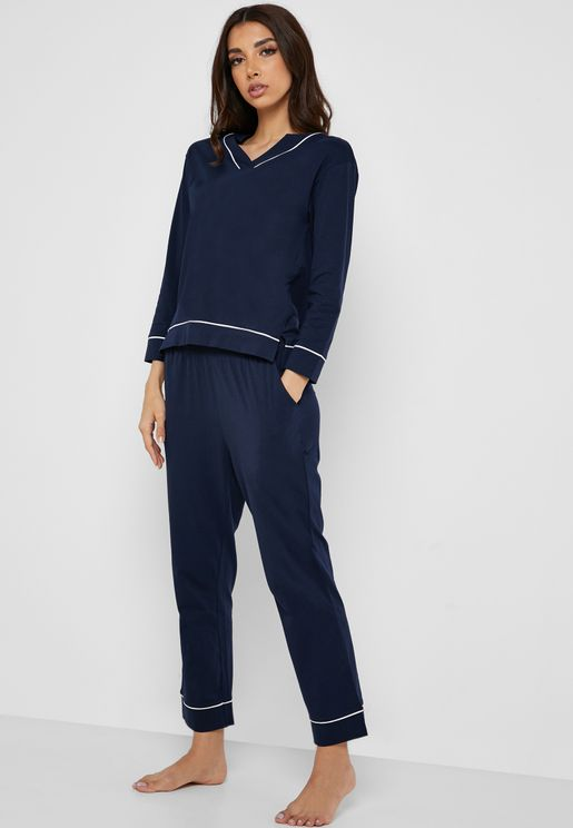 Contrast Piping Pyjama Set