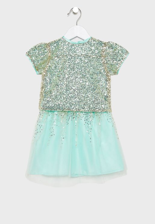 Kids Sequin Detail T-Shirt + Skirt