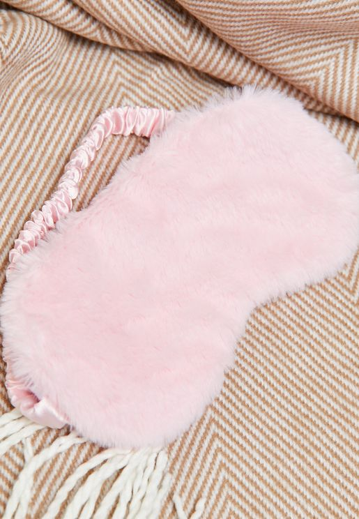Pink Faux Fur Eye Mask