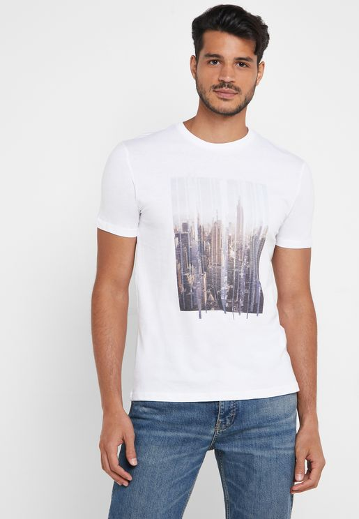 Photographic Print Crew Neck T-Shirt