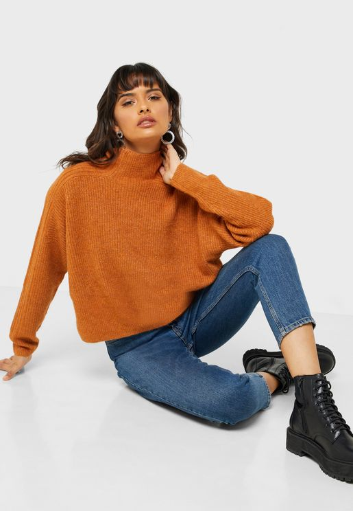 High Neck Cropped Sweater