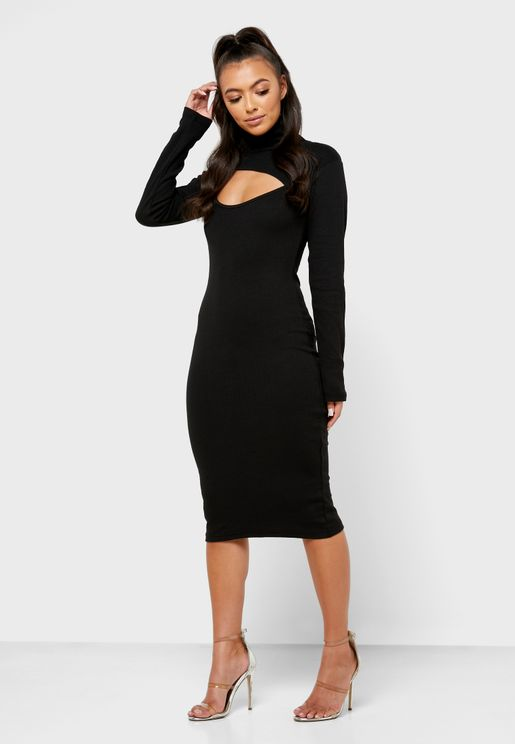 Cut Away Detail Midi Dress