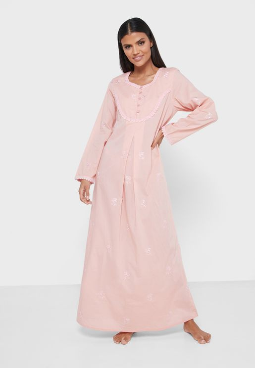 Full Sleeves Embroidered Cotton Nightdress